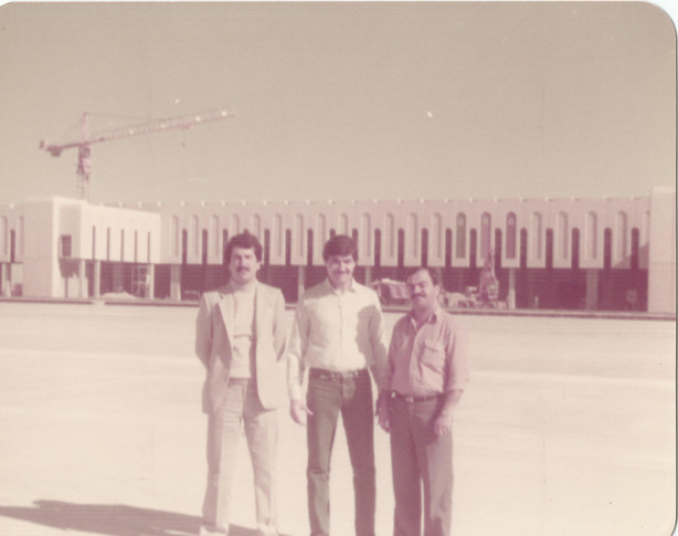 Photos taken infront of the Basra International Airport while it was under construction.  This airport was a huge and important project due to its strategic location in the South of Iraq for business travel and economic growth and trade, etc. It should be noted that currently the state of the airport is embarrassing and shameful, only a small section of the airport is operational while the rest is closed for obvious reasons (unrest in Iraq reduced tourism and frequency of travelers into Basra) but what's upsetting is none of the facilities of this small operational portion is being maintained, serviced or fixed. All the equipments and technological advancements that were installed into this airport are mostly broken and not functioning; and rather than fixing them, they are being replaced by outdated systems.   Basra, 1986