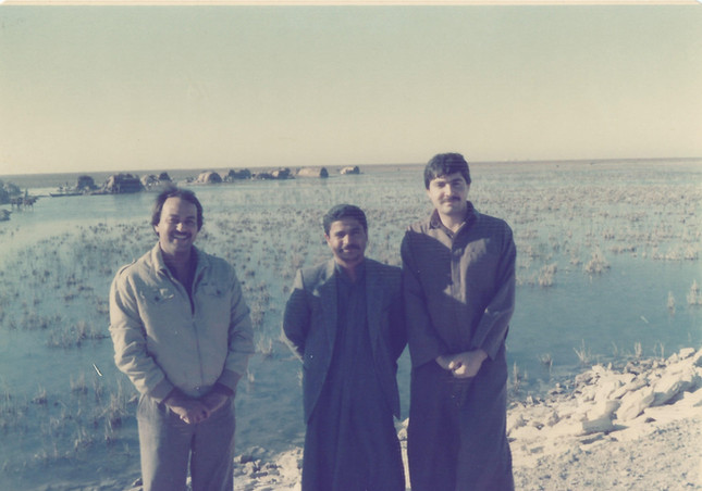 The Iraqi Marshes - my father with his bestfriend Saeed Dhamad who is currently in Canada and friends on yet another field trip.  Al Ahwar, 1984