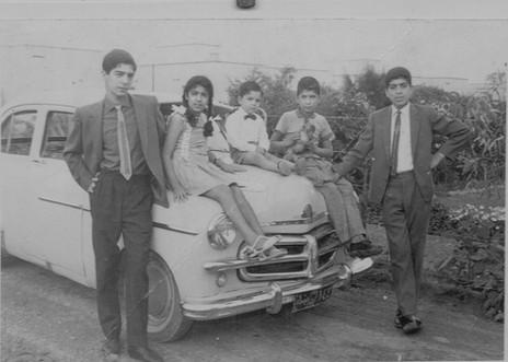 My dad Muafaq Kanber Wafi, Nabil Kanber, Shatha Kanber, Entifadh Kanber and Wamidh Kanber as children. The Kanber family.  Baghdad, 1961
