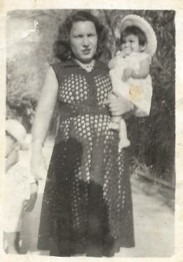 Sadiya Hassan with her daughter.  Al Faw, Basra, 1955