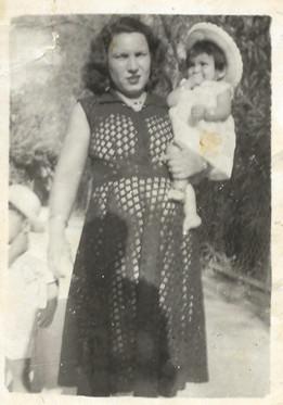 Sadiya Hassan with her daughter.  Al Faw, Basra, 1955