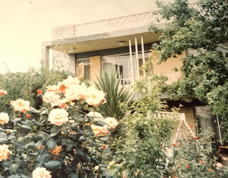 """These photo are important to me because they're a zeitgeist of scenery in a Baghdad that no longer exists. The famous two story Baghdadi style houses are disappearing one by one and are being replaced by either planned out, unoriginal, community style (often high rise) projects, such as Iraqi gate, or by tiny McMansion style shoe boxes, often made in attempts of adapting to Baghdad's failed electrical system. Beyond that the photos also look very lush and vegetive, which is something that is also disappearing in an Iraq that can't seem to adapt to climate change, as despite being seen as the least of the worries plaguing our country, it will be the one that's most impactful in our near future. Lastly, the photos just look peaceful and happy, in contrast to the """"usual"""" photos of the last 20+ years.  Grandma's house, Baghdad, 1970s"""
