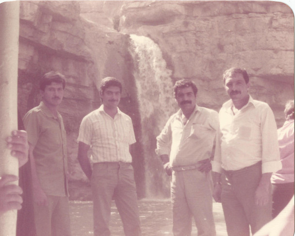 My father, his two brothers in Kurdistan with their Kurdi friend. The picture was taken infront of the Gali Ali Bag Waterfall near Soran. Iraq has a lot of resources, agriculture, great soil, water sources, natural water flows. It is important that we highlight that there is more to Iraq than war and catastrophe.  Gali Ali Bag Waterfall, Kurdistan, 1985