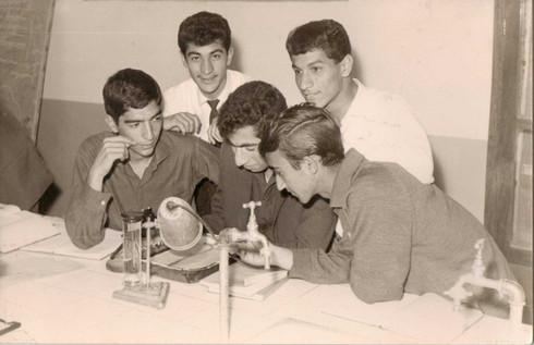 My dad Muafaq Wafi in science class at university.  Adhamiya, Baghdad University College of Science, 1964