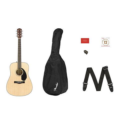 Fender CD-60S Dreadnought Acoustic Guitar Pack V2 (Natural) inc Gig Bag & Strap