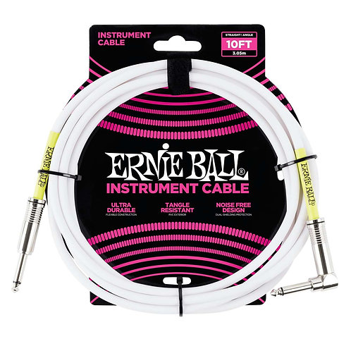 ERNIE BALL 10ft STRAIGHT / ANGLE INSTRUMENT CABLE - WHITE