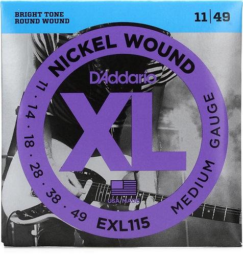 D'ADDARIO EXL115 ELECTRIC GUITAR STRINGS (11 - 49)