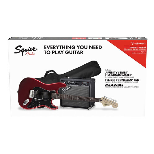 SQUIER AFFINITY STRATOCASTER HSS ELECTRIC GUITAR PACK - CANDY APPLE RED