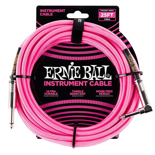 ERNIE BALL 25ft BRAIDED STRAIGHT / ANGLE INSTRUMENT CABLE - NEON PINK
