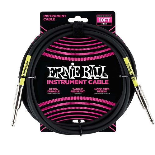 ERNIE BALL 10ft STRAIGHT / STRAIGHT INSTRUMENT CABLE - BLACK