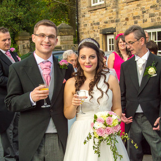 Laura and Desmond arriving at the Owls in Standish for wedding breakfast