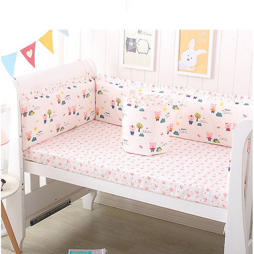 2 in 1 Baby Breathable Mesh Crib Bumper/crib bedsheet-Pig
