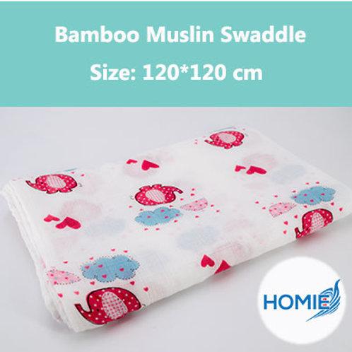 Bamboo Muslin Swaddle-Elephant