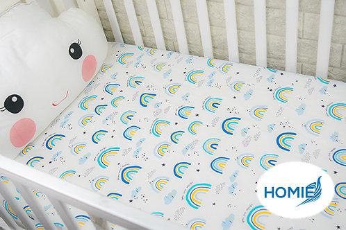 Custom crib sheet Green Rainbow- standard, any Size