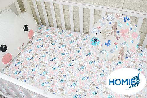 Custom crib sheet grey rabbit- standard, any Size