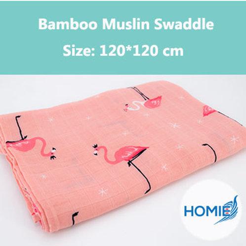 Bamboo Muslin Swaddle-Red Crane