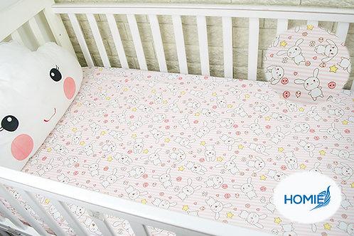 Custom crib sheet pink rabbit- standard, any Size