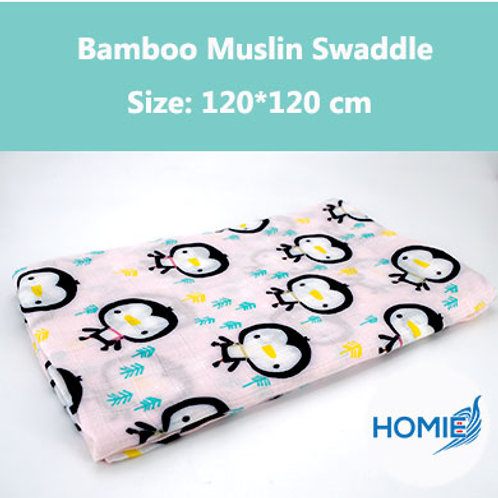 Bamboo Muslin Swaddle-Penguin