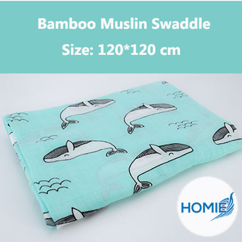 Bamboo Muslin Swaddle-Whale