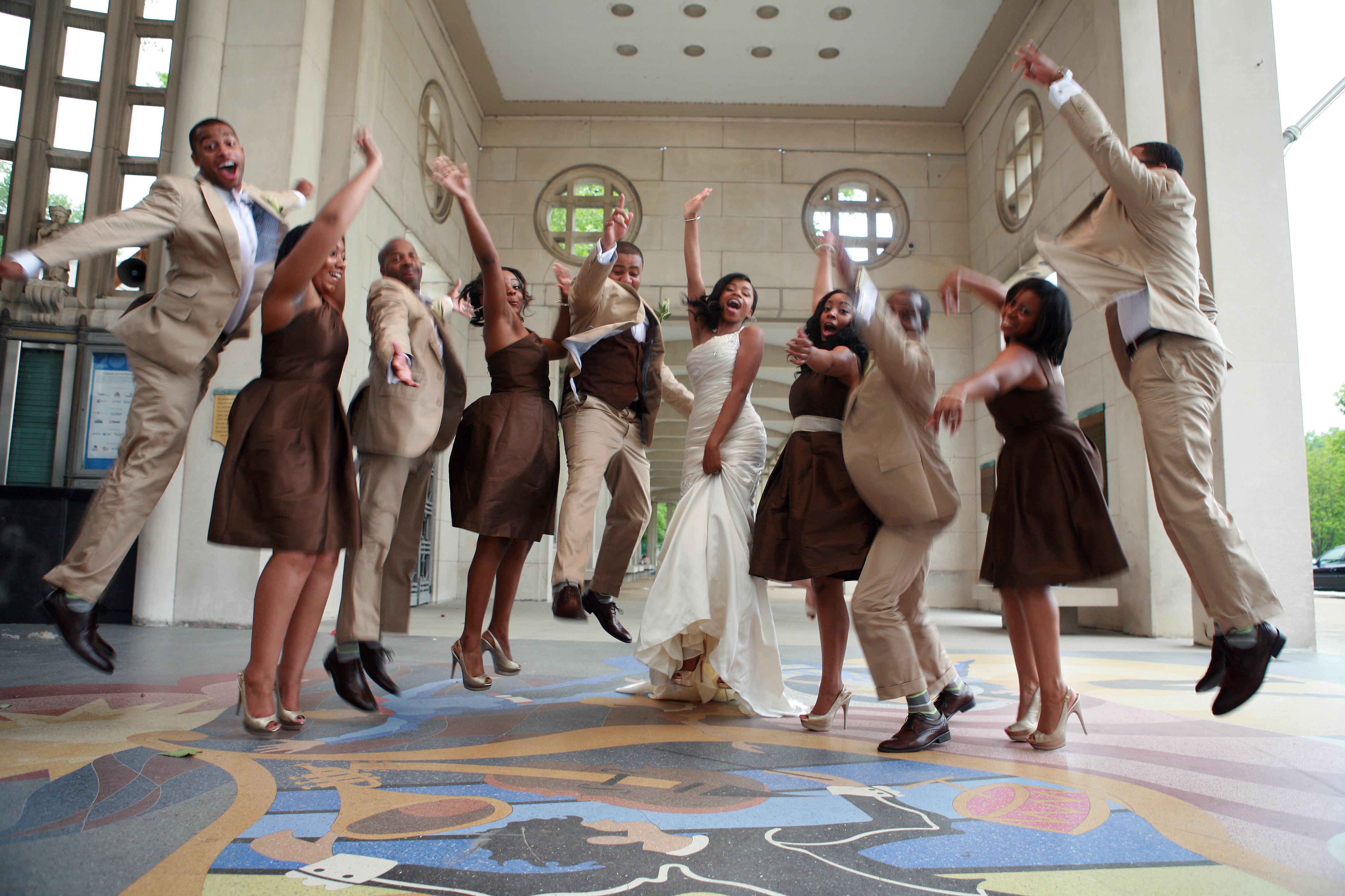 Jumping Bridal Party Pose