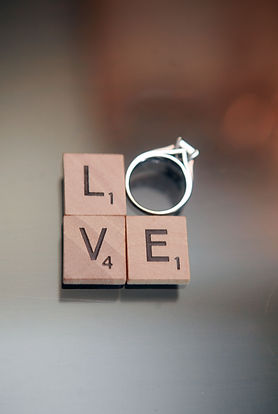 Scrabble Love with Ring Wedding Photo