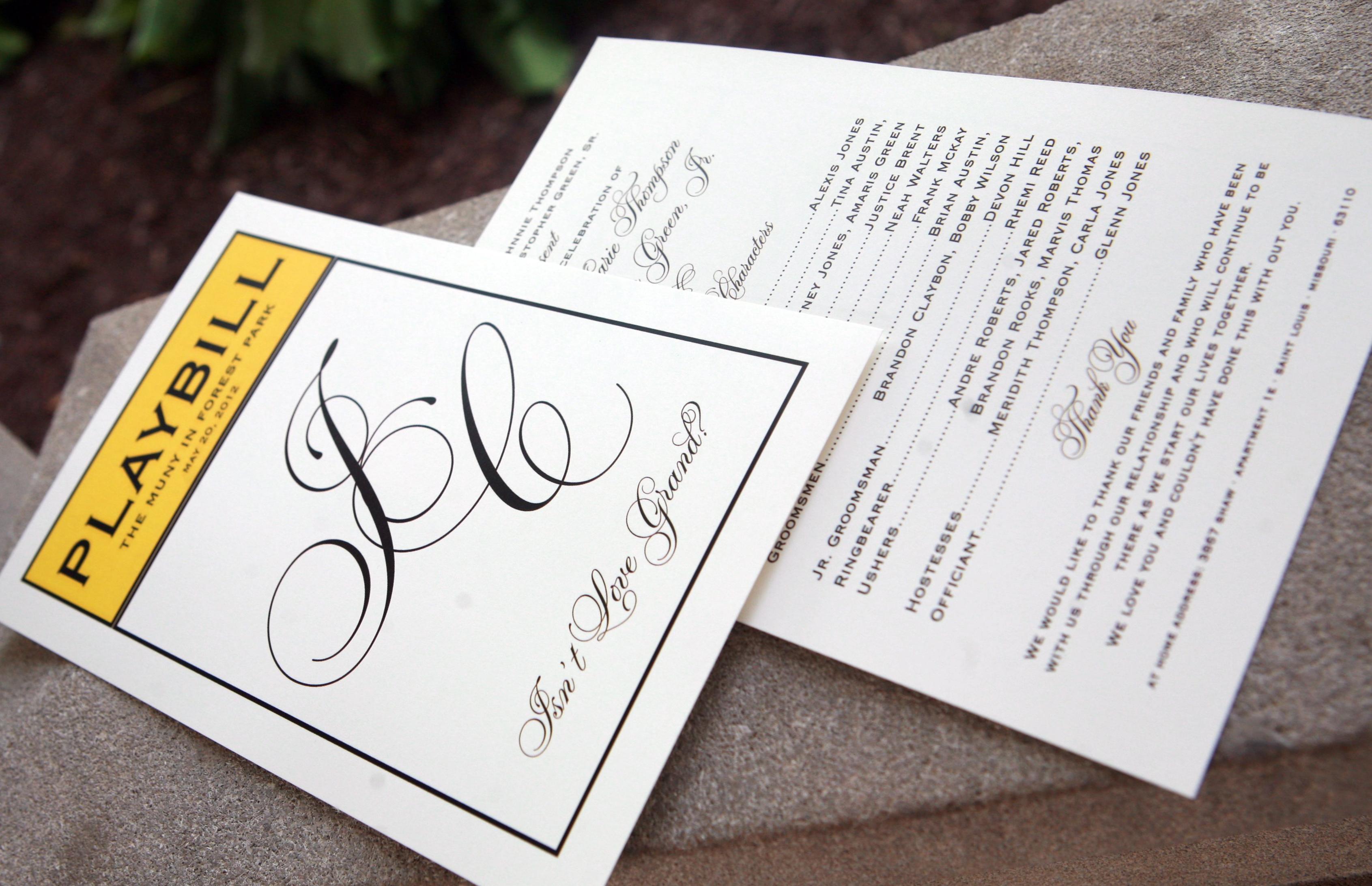 Playbill Wedding Invitation