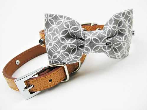 Winston Bow tie collar | Gray and white bowtie collar