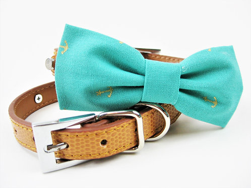 Anchor Nautcial Bow tie collar | Aqua bowtie collar