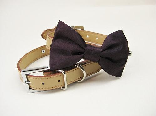 Deep Plum Bow tie collar | Dog bowtie collar