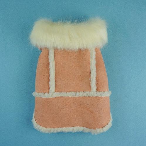 Faux Fur Shearling Coat-Pink