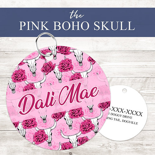 The Pink Boho Skull Pet Tag   Custom Dog Tag Personalized