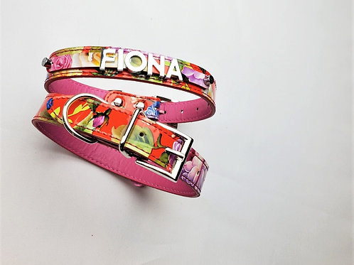 Retro 1970s floral collar- add pet's name free
