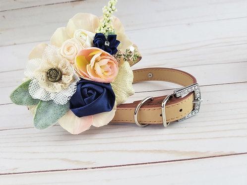 Bluebird flower collar   Navy and Blush wedding collar