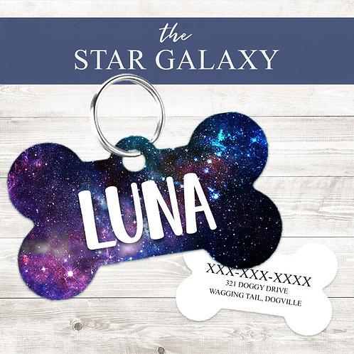 Star Galaxy Pet Tag | Custom Dog Tag Personalized | Tribal Pink W