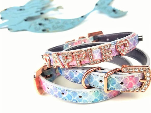 Magnificent Mermaid Dog Collar | Sparkle finish with rose gold buckle