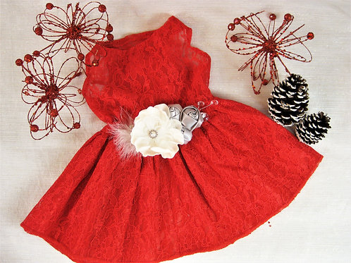Red Lace Dog Dress | The Estelle | Holiday Dog Dress