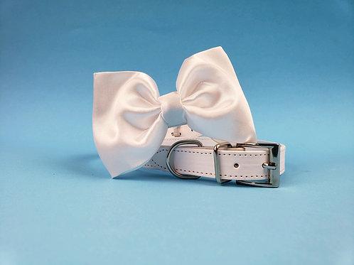 White Satin Bow tie collar   Dog bowtie collar