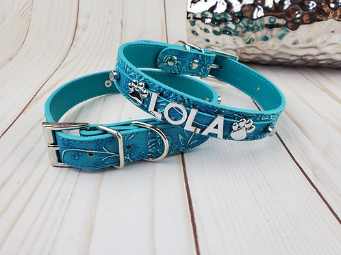 Boheme Blue Dog Collar |  Personalized Dog collar