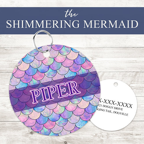 Shimmering Mermaid Pet Tag   Custom Dog Tag Personalized