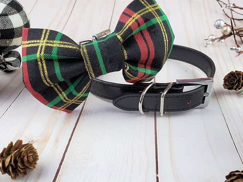 Holly Jolly Bow tie collar | Holiday pet bowtie