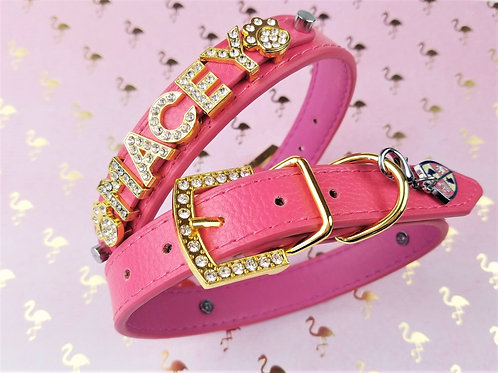 Pink Flamingo Dog Collar | Hot Pink and Gold Personalized Dog collar