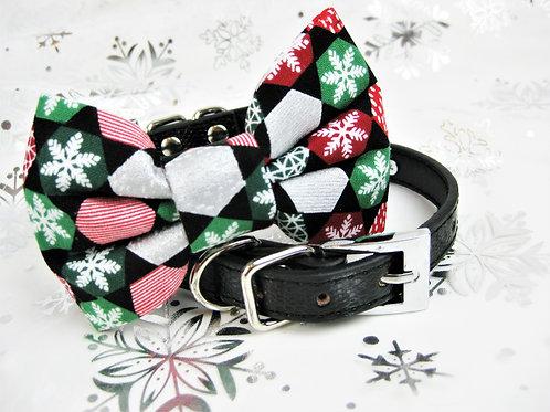 Starflake Bow tie collar   Holiday bowtie collar
