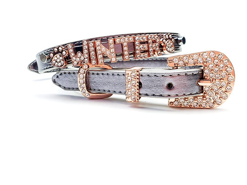 Pewter Metallic Personalized collar- add pet's name free