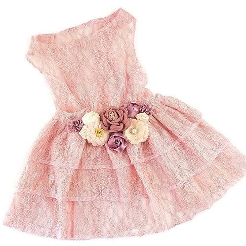 Blush Lace Floral Pet Dress