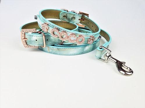 Aqua marble Dog Collar |  Personalized Dog collar