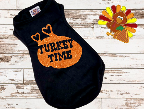 Turkey Time Shirt | Thanksgiving Dog shirt