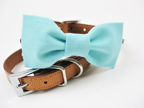 Beachy Bow tie collar | Aqua bowtie collar