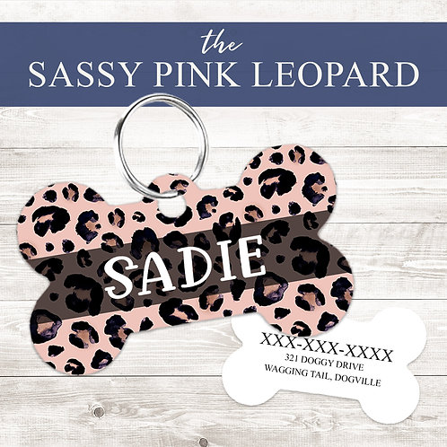The Sassy Pink Leopard Pet Tag | Custom Dog Tag Personalized