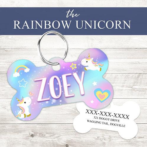 Rainbow Unicorn Pet Tag | Custom Dog Tag Personalized