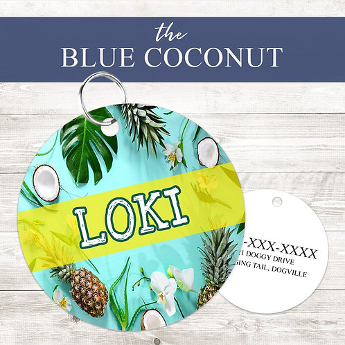 Blue Coconut Pet Tag | Custom Dog Tag Personalized | Tribal Pink Wild Child